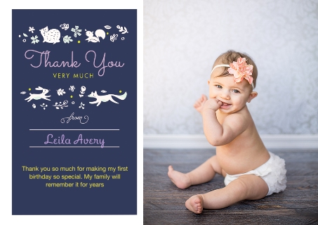 Kids thank you cards thank you cards snapfish frolic in the forest thank you bookmarktalkfo Image collections