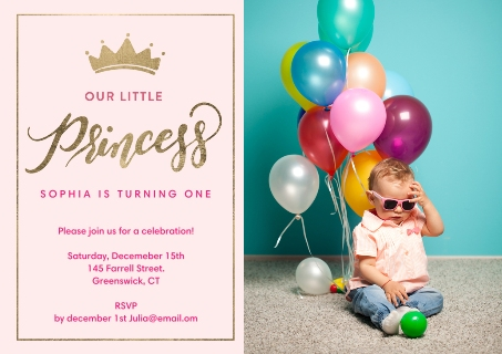 1st birthday party invitations birthday party invites snapfish birthday princess gold script filmwisefo