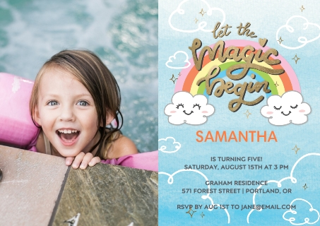 Birthday party invitations party invitations party invites birthday rainbow smiley clouds filmwisefo