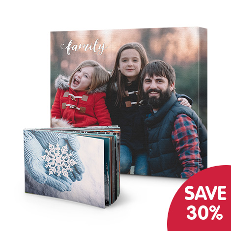 Save 30% when you buy any 2 photo books or canvas prints - mix and match