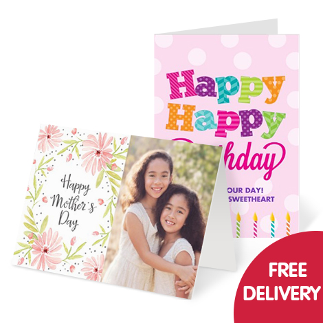 Free delivery on personalised cards
