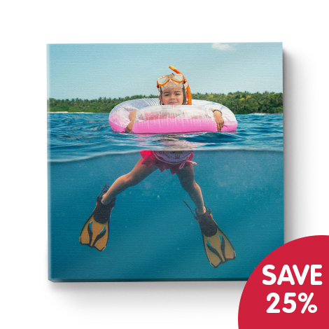 "Save 25% on 12x12"" canvas plus receive free delivery"