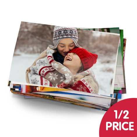 "1/2 price on 7x5"" and 10x8"" photo prints"
