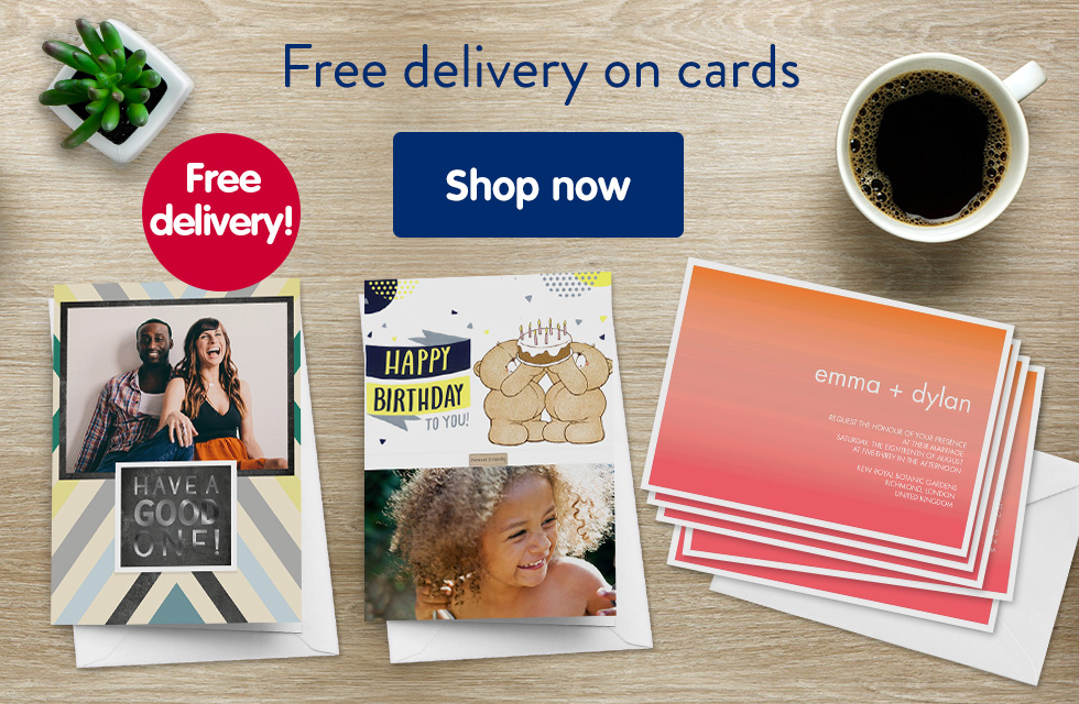 Free delivery on cards
