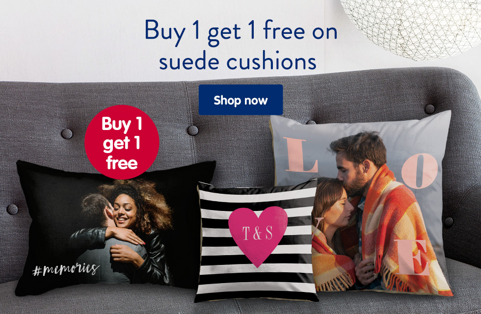 Buy 1 get 1 free on suede cushions