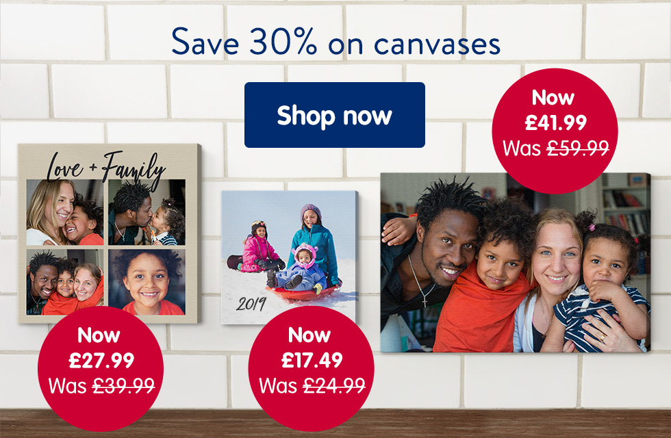 Save 30% on canvases