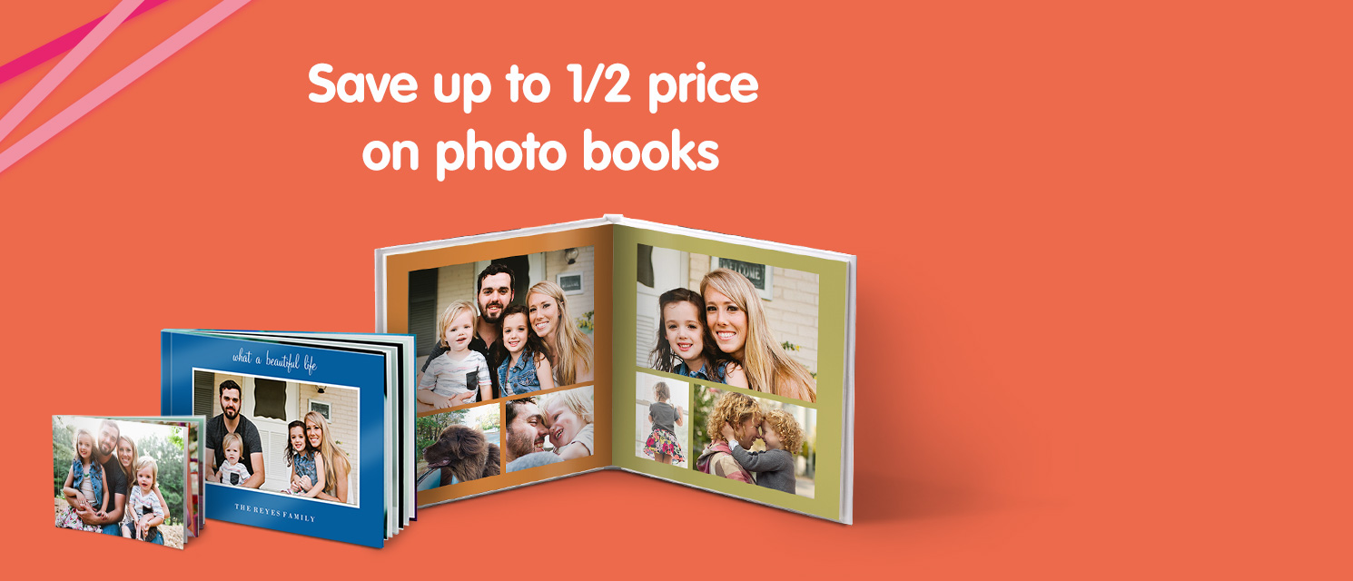 Save up to 1/2 price on photo books
