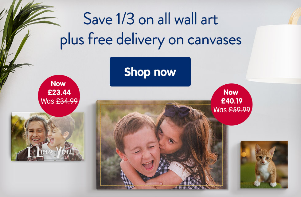 Save 1/3 on all wall art plus free delivery on canvases