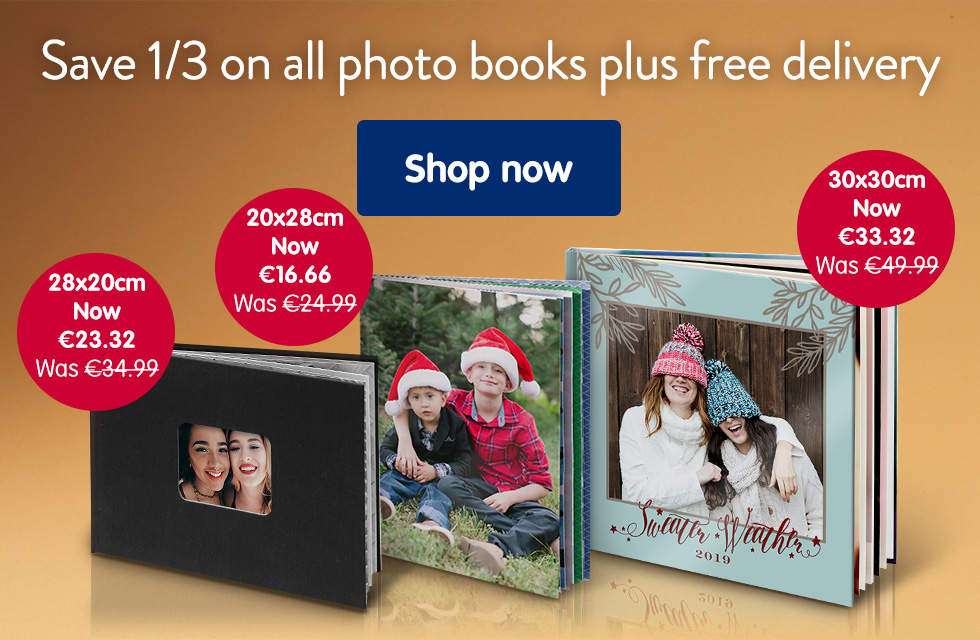Save 1/3 on all photo books, plus free delivery!