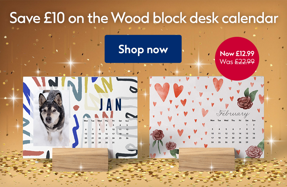 Save £10 on Wood block desk calendars