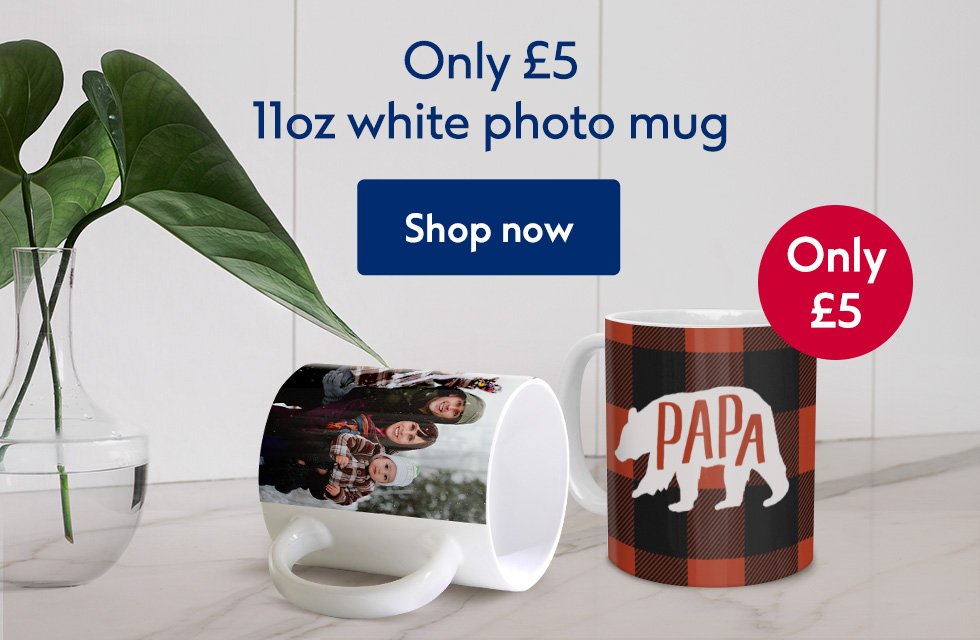 11oz white photo mug only £5!