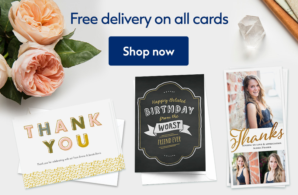 Free standard delivery on all cards