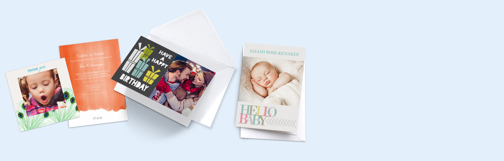 Personalised Photo Cards : Share your favourite snaps with loved ones and send them a personalised photo card. We have cards for all occasions and events including birthdays, weddings and new baby.