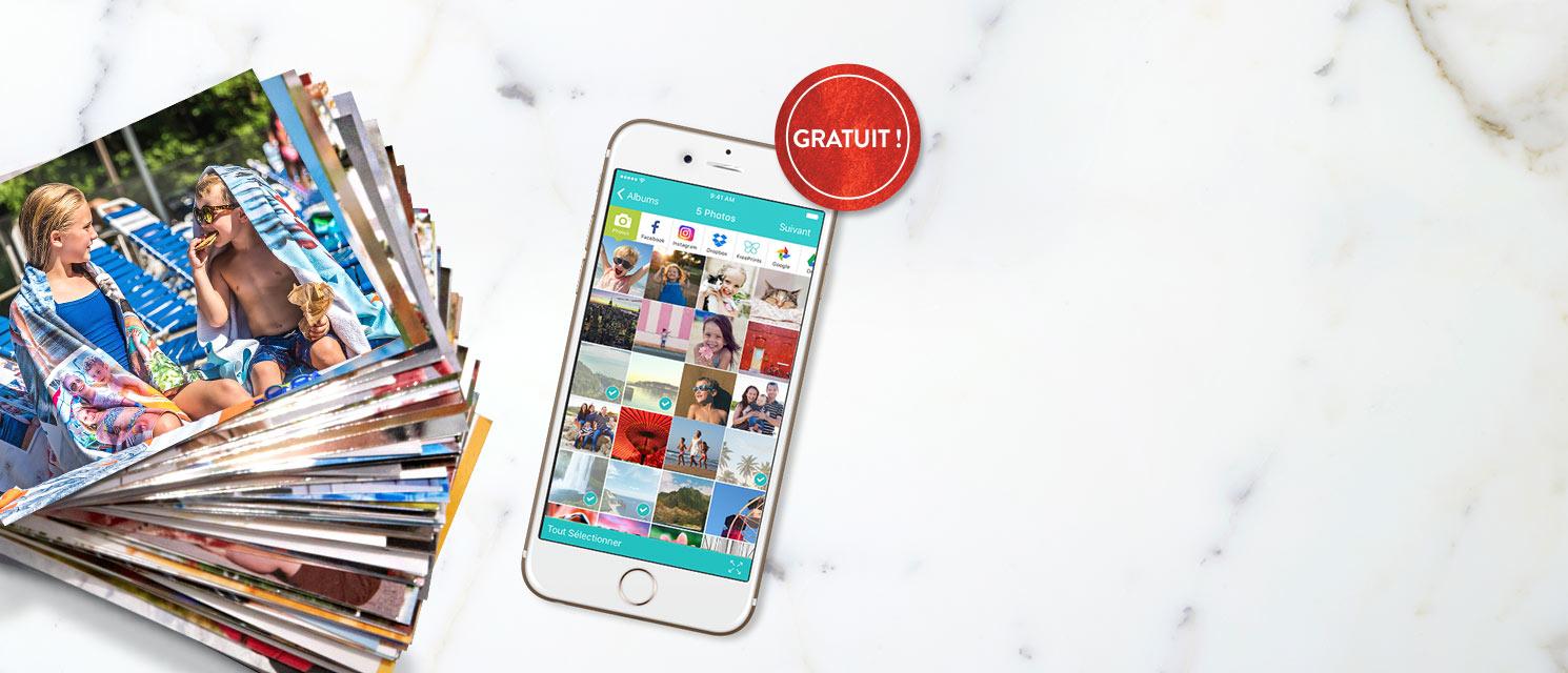 500 Tirages 10x15 Gratuits par an : Appli FreePrints Payez simplement les frais de livraison