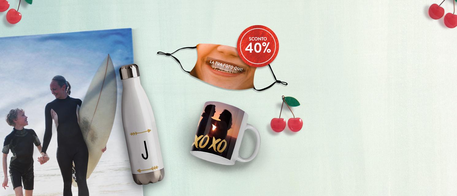 -40% su Fotoregali, Tazze e Mascherine