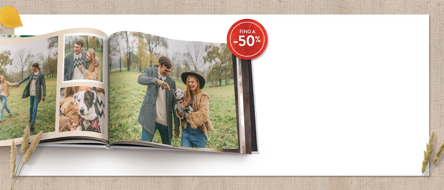 Fino a -50% sui FotoLibri  : -40% su tutti i FotoLibri Codice: BOOK1017-50% FotoLibro 15x20 Codice: 50BOOK17