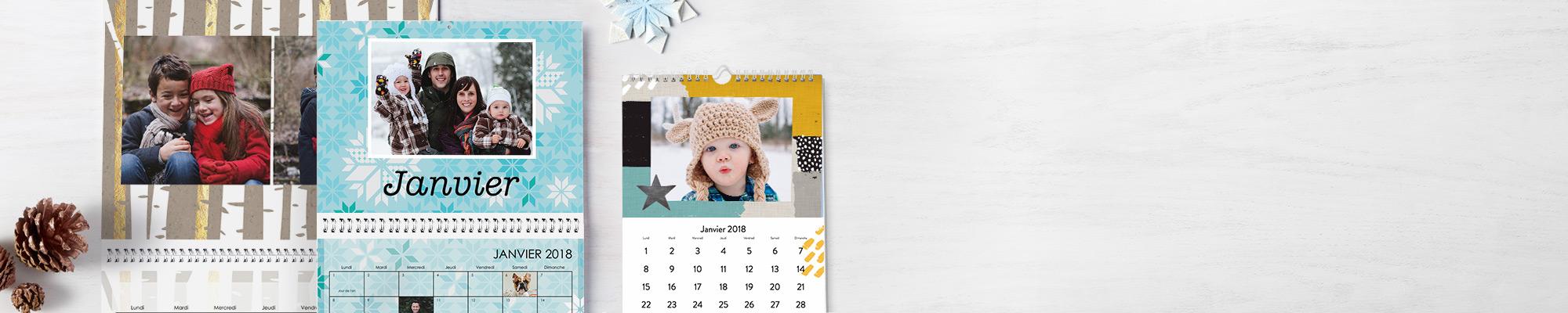 Calendriers personnalisés 2018 Pendant 365 jours profitez de vos plus belles photos personnalisées avec nos nouveautés : polices, designs et arrière-plans.