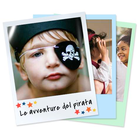 Set di stampe Rétro con bambino con benda da pirata