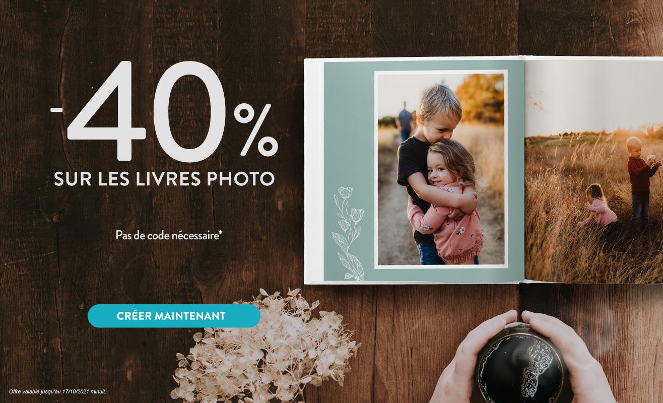 40% de réduction sur les Livres Photo
