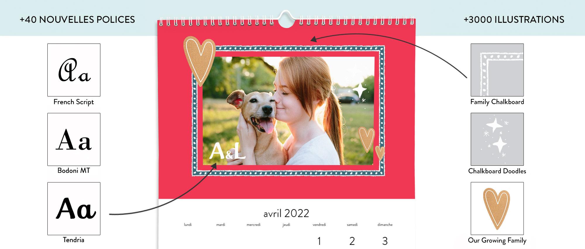 Imprimez votre calendrier avec plus de 3000 illustrations et 40 polices