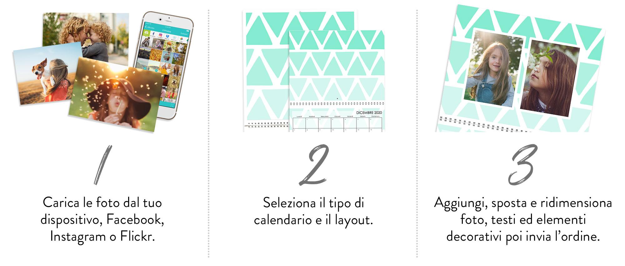Il tuo foto calendario in 3 semplici passi