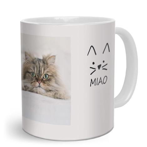 Tazza personalizzata con gatto e scritta miao