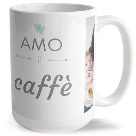 Tazza grande personalizzata con scritta amo il caffè