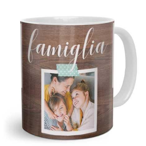 Tazza personalizzata con foto di famiglia e scritta famiglia