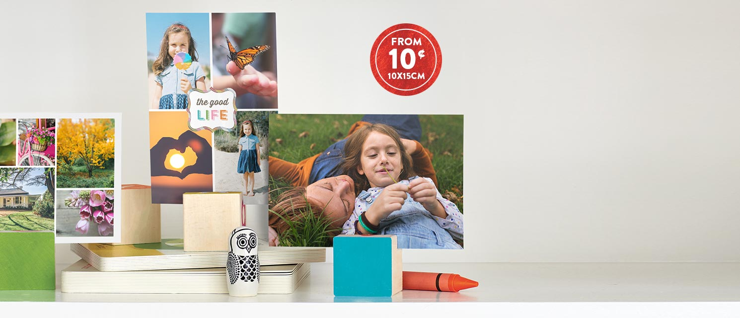 "Everyday low priced prints! : Get 10x15cm (4x6"") prints for only 10¢ each. Use code K10PRINTS"