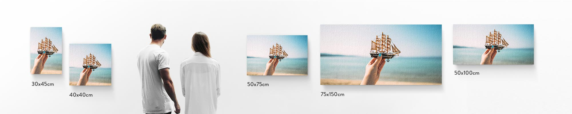 Canvas print sizes - How do we stack up? We offer a range of canvas sizes to suit your needs, space and decor.  Our canvas prints are available in sizes ranging from 30x30cm-30x60cm  and larger sizes between 50x75cm-75x150cm.