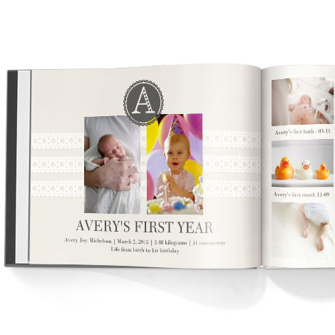Photo book. Baby girl first year theme