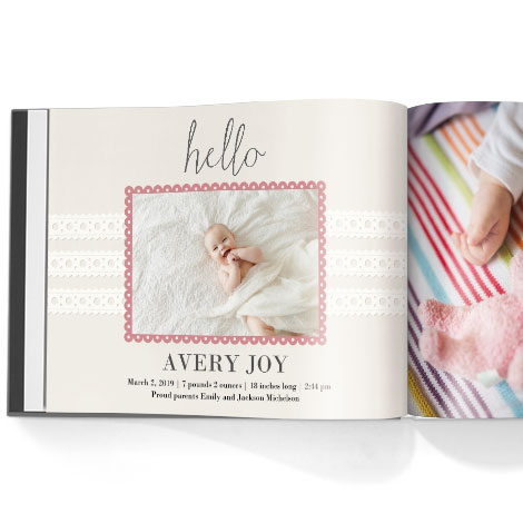 Photo book. Hello baby girl theme