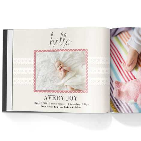 Photo book. Hello baby girl theme