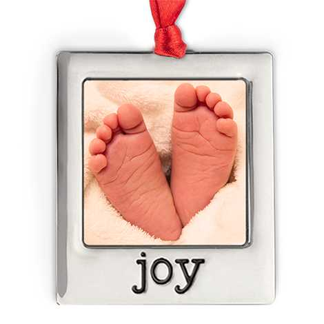 Silver Plate Joy Photo Ornament