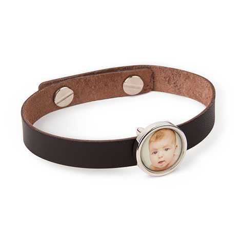 Leather Photo Charm Bracelet