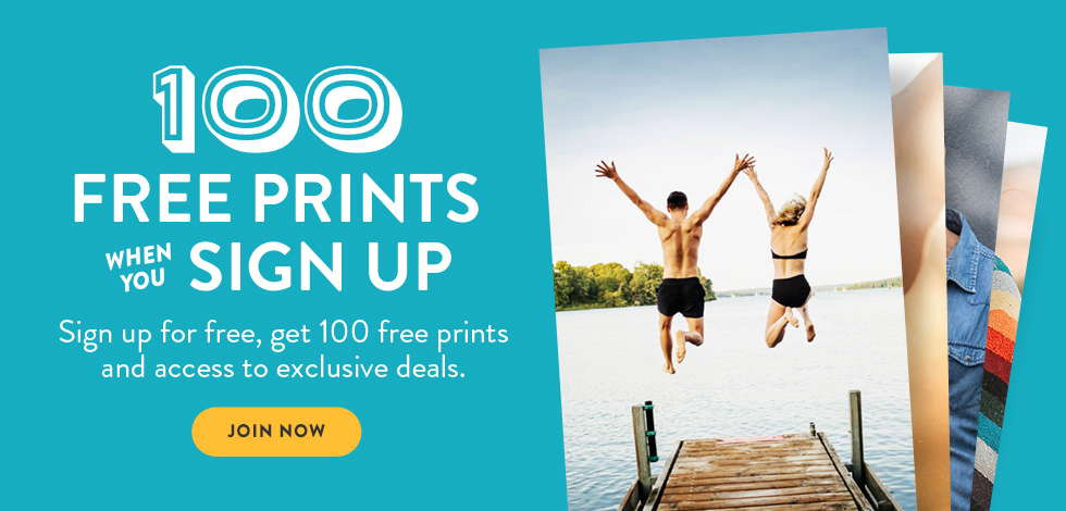 New sign up offer: Join today and Get 100 free prints!