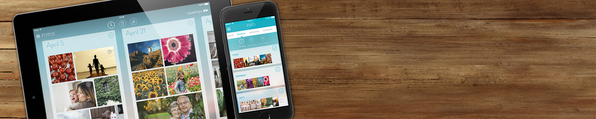 Unsere Apps Erstellen Sie Fotoabzüge und Fotogeschenke wann immer, wo immer Sie inspiriert werden.