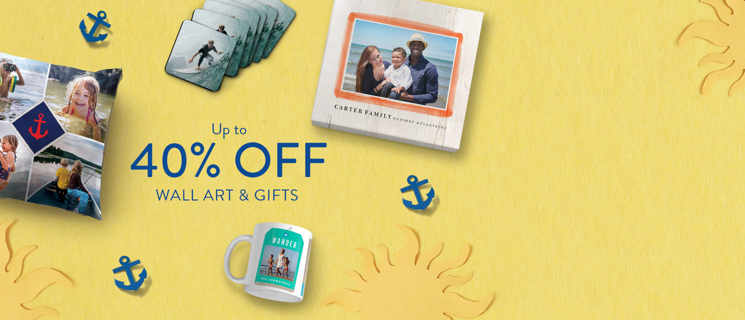 Don't hang about   : Up to 40% of wall art & gifts! Save 30% on all orders, or save 40% on orders over £25. Use codeSAVE617by 25/06.