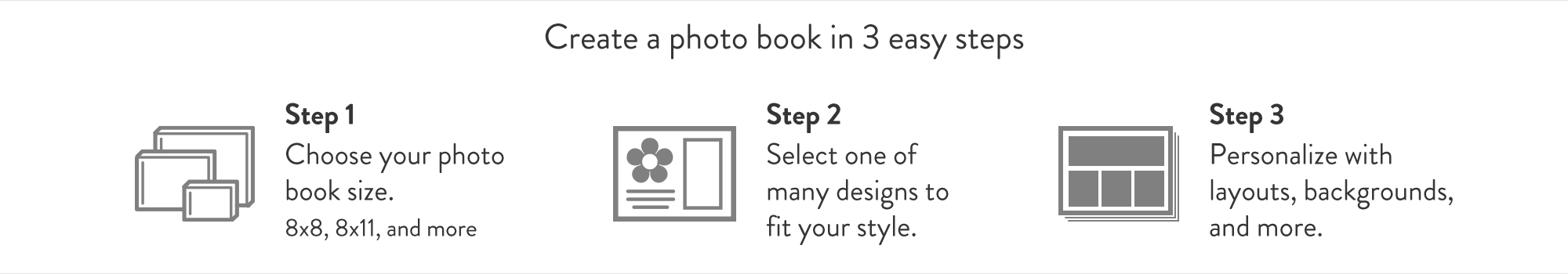 Get Started Choose Your Photo Book Size