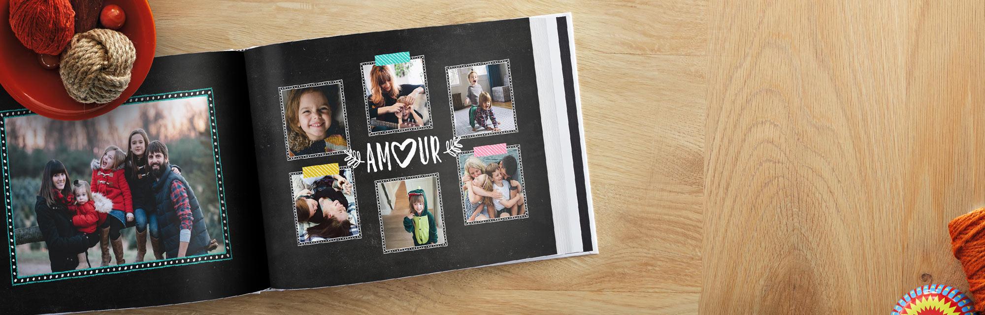 Livres Photo personnalisés : Choisissez un de nos modèles et sélectionnez remplissage automatique pour ajouter vos photos.