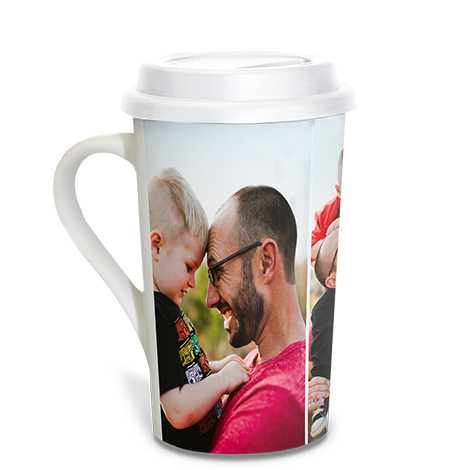Icon Collage Grande Coffee Mug, 16 oz with lid