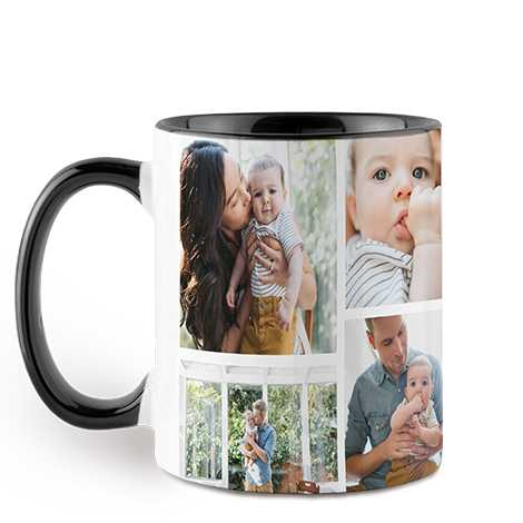 Icon Collage Black Colorful Mug, 11 oz.
