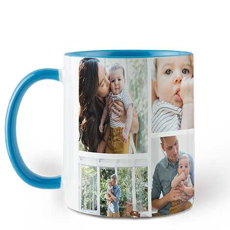 Icon Collage Sky Blue Colorful Mugs, 11 oz