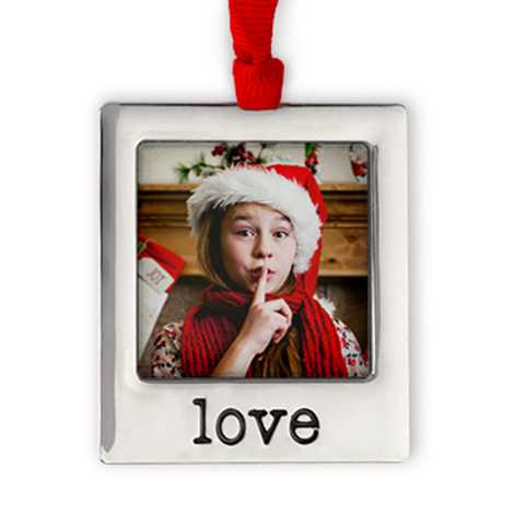 Icon Silver Plate Love Photo Ornament