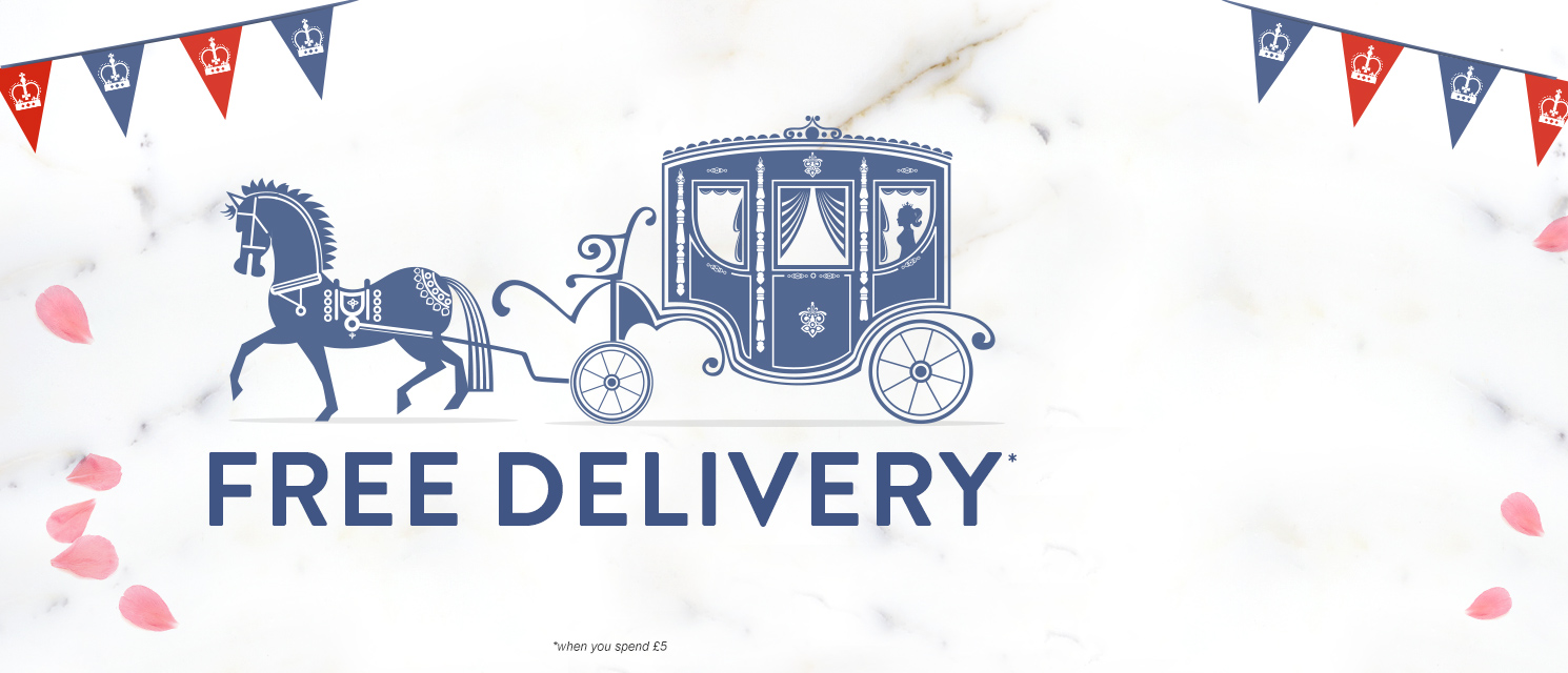 Back by Royal Decree : Free delivery on everything, when you spend £5 or more!Use code FREE518 by 20/5.