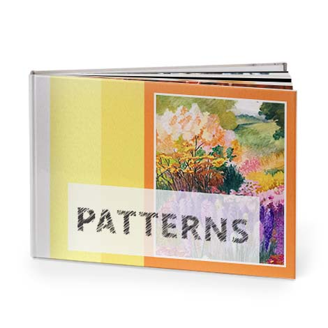 Photo albums with patterned backgrounds