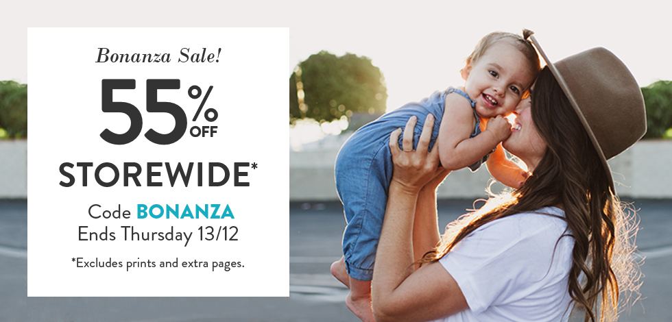 55% off storewide (*excludes prints)