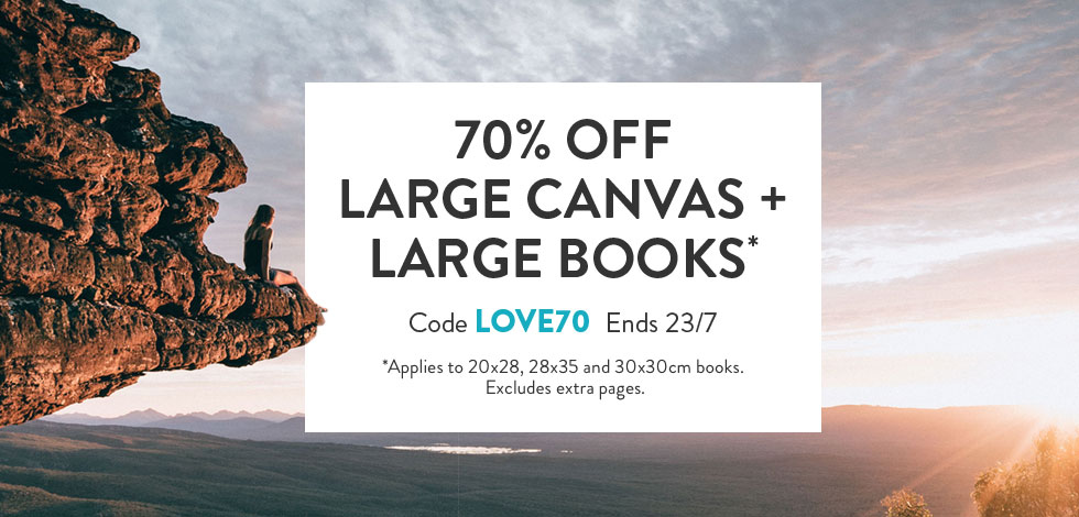 70% off Large Canvas + Large Books*