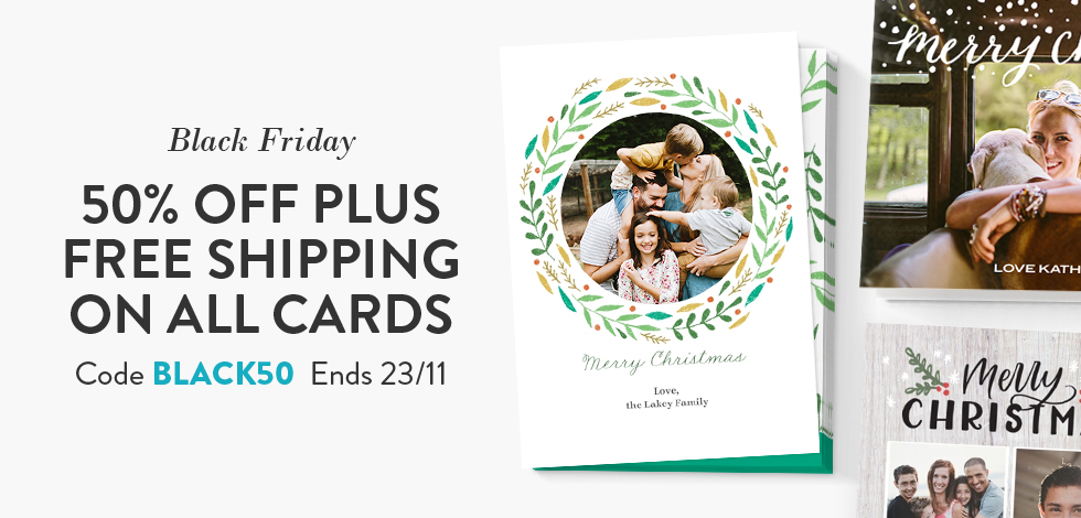 50% off + Free delivery on all Cards