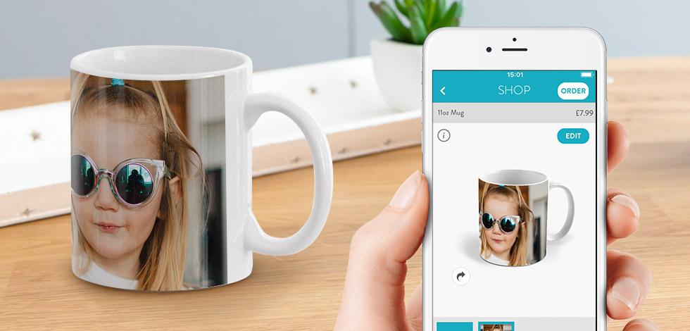 Shop and create mugs on the snapfish app